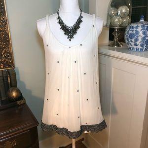 Silver & White Silk Chiffon Tank Top Blouse Shirt